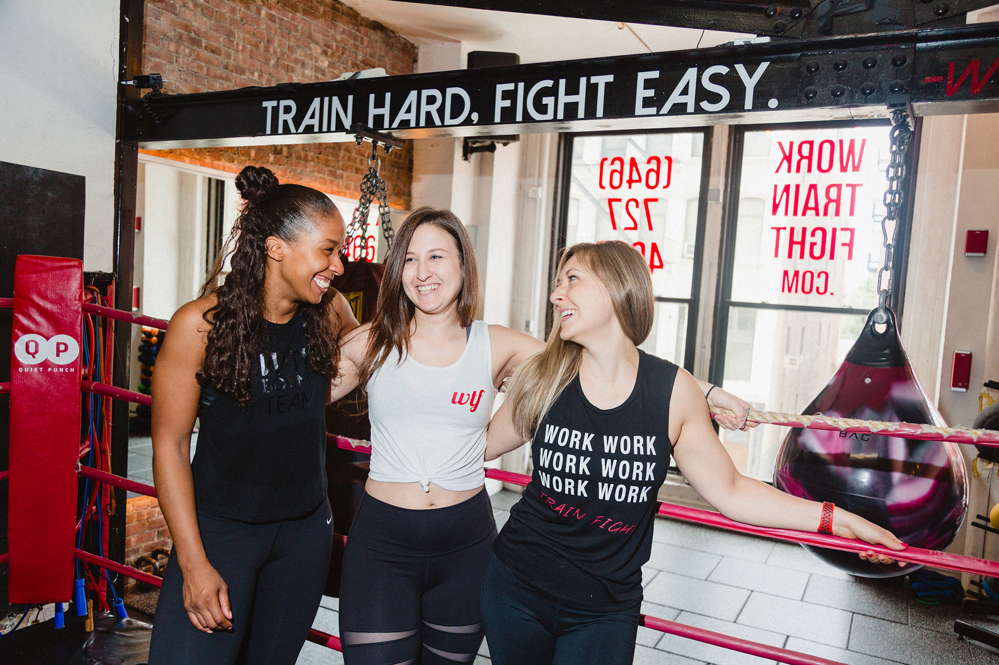 Nikki Campbell, Kate Hyman and Amber Trejo, founding women of Work Train Fight