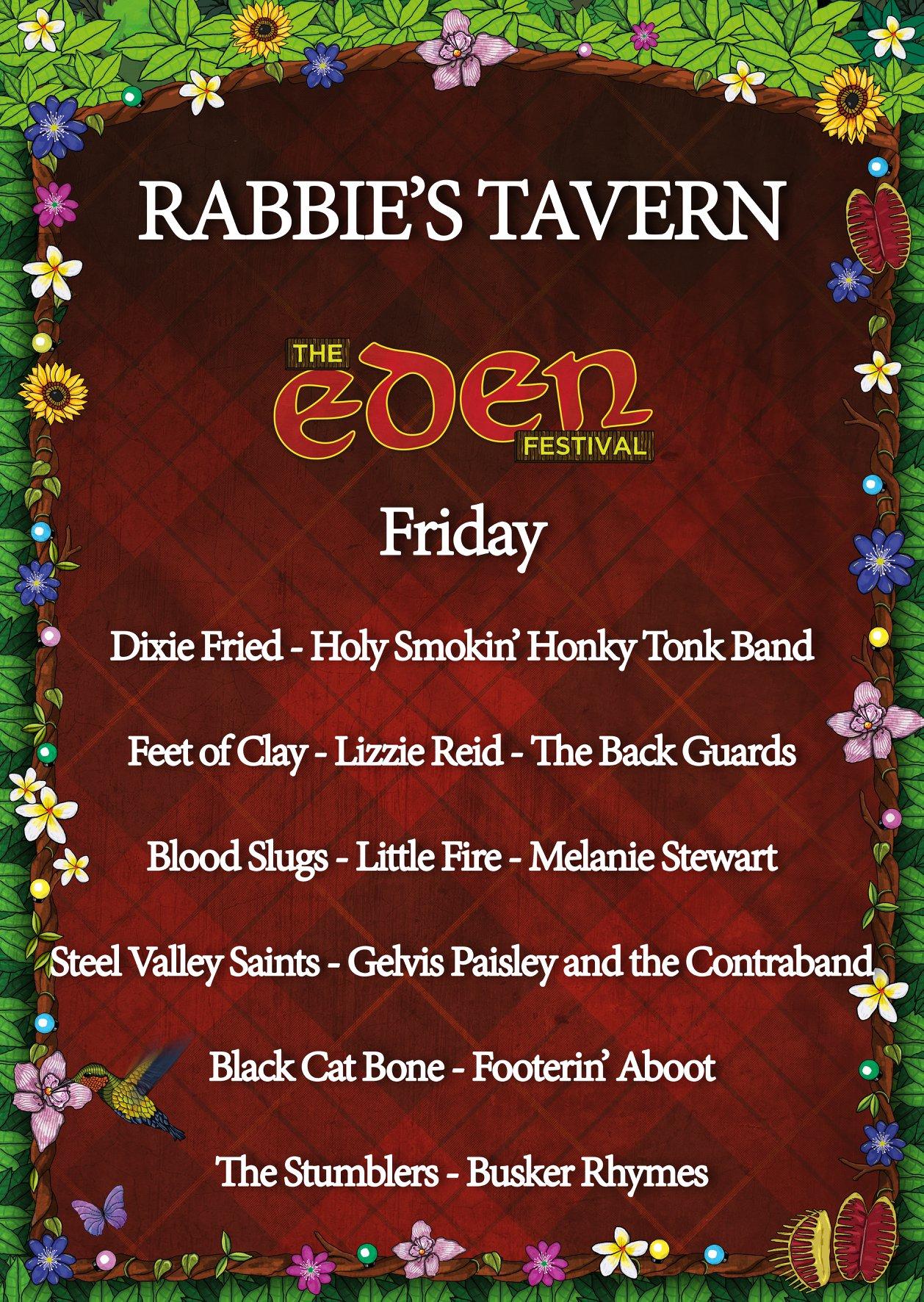 Friday line up at Rabbies Tavern