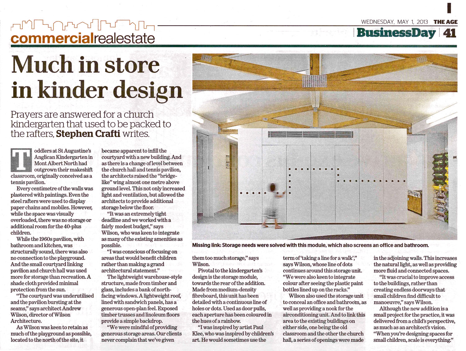 """""""Much in store in kinder design"""" The Age, May 01, 2013   Refer to article in online edition of The Age"""