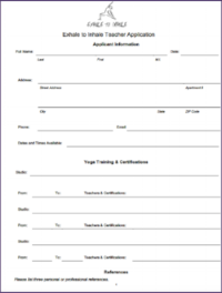Exhale to Inhale Volunteer Teacher Application