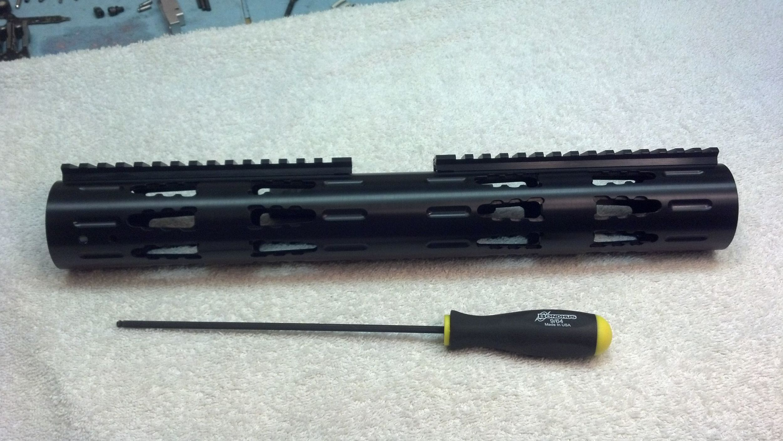 Extended-Length RRAC Tactical Handguard with Extended RRAC Rails, attached screws facing middle
