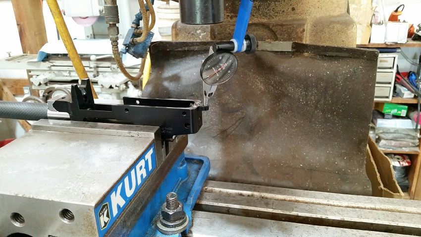 """STEP-2: Install the Threaded Rear Tab and indicate the threaded hole using a gage-pin or shank of a drill, (ID of hole is .177"""" or #16 drill). Zero and lock your mill table with the hole swept in."""