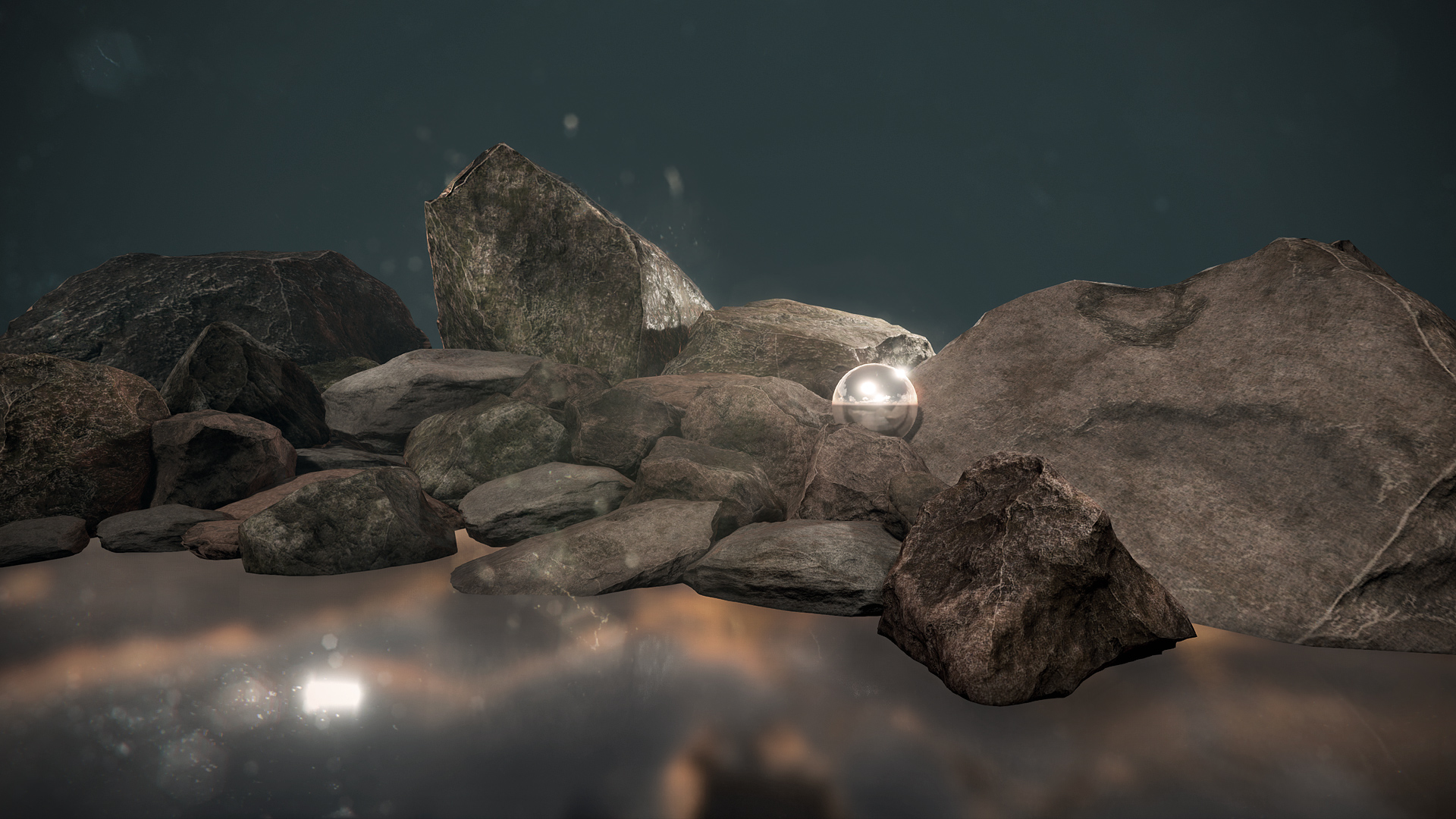 I created approximately a dozen different sizes and shapes of boulders in order to explore different creation techniques and build a personal library of rocks for future projects.  Square, round, flat, big, small, mossy, clean, rough, smooth, I hopefully have a rock for almost any occasion here.  Modeled in 3ds Max and ZBrush, physically based textures created in Photoshop, rendered in Unreal Engine 4.
