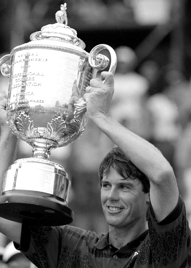 Paul Azinger  displays the  Rodman Wanamaker  Trophy for his 1993 PGA Championship victory at  Donald Ross -designed Inverness Club, Toledo, Ohio.