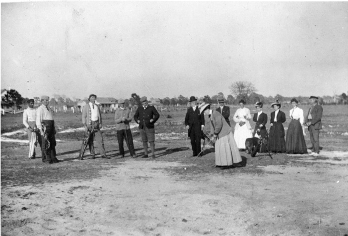 John Hamilton Gillespie , center, in plus fours, on the teeing ground, Sarasota c. 1905. Photograph Courtesy Sarasota County Historical Resources.