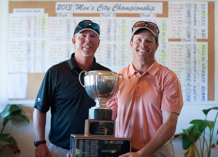 Bobby Jones Golf Club Head PGA Professional  Christian Martin  presents 2013 City Champion  Phil Walters  with the  Perry E. Lanning  Trophy. Photograph courtesy of Casey Lawson of Casey Brooke Lifestyle Photojournalism.
