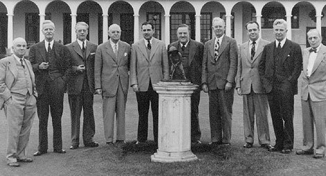 """The  American Society of Golf Course Architects  held its first annual meeting in Pinehurst on Dec. 5, 1947. Shown at that meeting (left to right) are: William P. Bell, Robert White, W.B. Langford,  DONALD J. ROSS ,  ROBERT BRUCE HARRIS , Stanley Thompson, William F. Gordon, Robert Trent Jones, Sr., William Diddel, and Donald Ross Associate  J.B. McGOVERN . ASGCA founders not present are Perry Maxwell, Jack Daray and Robert """"Red"""" Lawrence. Image courtesy of ASGCA."""