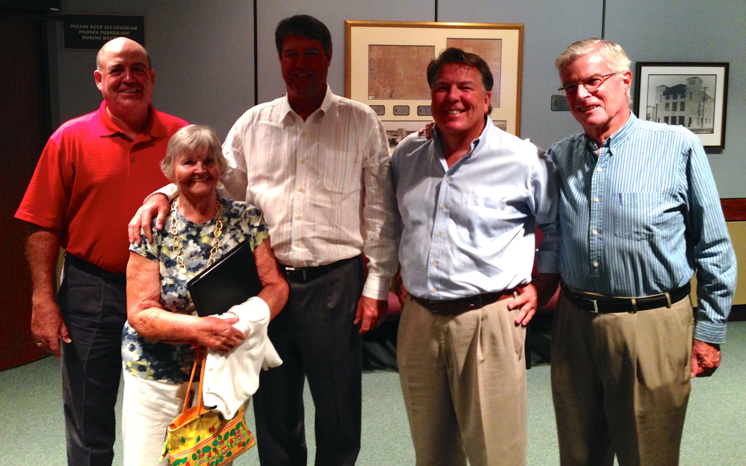 Big Night! (left to right) Friends of Bobby Jones Golf Club Trustee and Board Treasurer  Dan Smith , CPA; City of Sarasota Parks, Recreation and Environmental Protection Advisory Board Chair  Millie Small ; PGA Tour Professional and Major Champion  Paul Azinger ; Friends of Bobby Jones Golf Club President  Shawn Pierson ; and Friends of Bobby Jones Golf Club Trustee and Board Secretary  George Martin , Esq. celebrate Sarasota City Commission unanimous vote to draft Resolution for the establishment of a Committee for the Master Plan for Bobby Jones Golf Club. Photo by former Sarasota Mayor Kelly Kirschner.