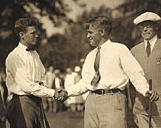 Watts Gunn  congratulates  Bobby Jones  at the United States Amateur Championship at Oakmont Country Club in 1925. Jones defeated Gunn in the final, 8 & 7.
