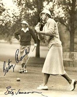 1955 Sarasota Open winner  Betty Jameson  tees off as 1956 Sarasota Open winner  Betsy Rawls  waits her turn.