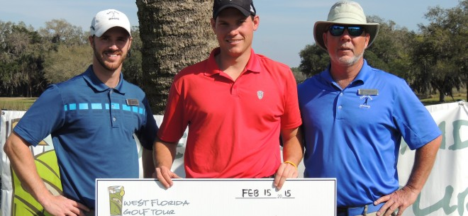 Bobby Jones Open 2015 Champion  Adam Schenk  flanked by club Assistant Pro  Dan Bailey  and Head PGA Pro  Christian Martin.  Photo courtesy Sarasota Herald-Tribune