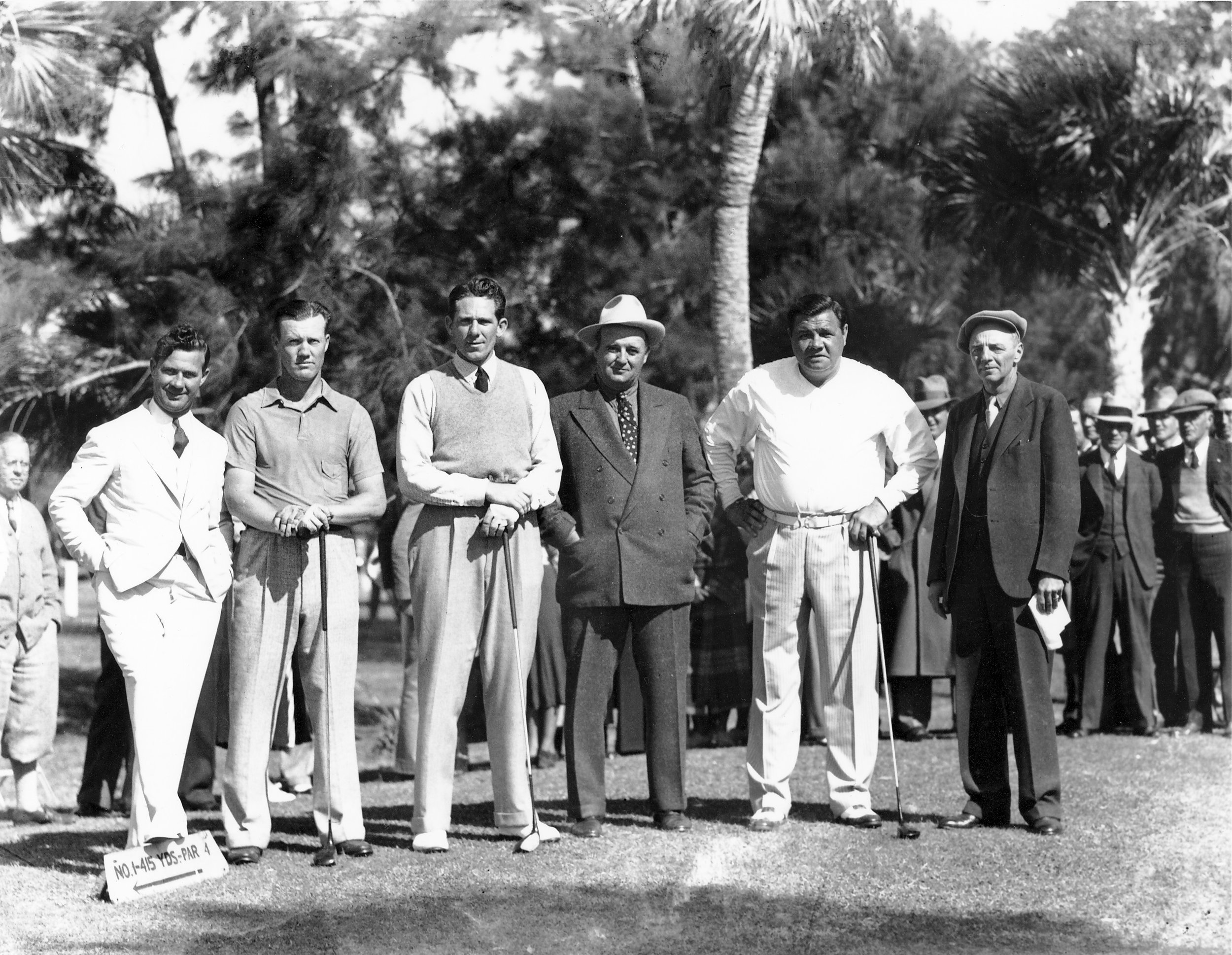 "Sunday, February 2, 1936.  On the 415 Yard, First Tee of the  Donald Ross  Course at Bobby Jones Golf Club, and ready for their 11:30 AM Tee Time in the 1936 National Baseball Players Tournament, left to right: In the background,  Atlanta Journal  sportswriter, Georgia State Golf Association Hall of Fame member and  Bobby Jones  biographer and chronicler  Oscar Bane ""O. B."" Keeler  (1882-1950); PGA of America Hall of Fame member; Bobby Jones Golf Club managing golf professional, legendary Ridgewood Country Club head professional (1919-1965), longest-serving President of the PGA of America (1932-1939) and ""golf czar"" for Major League Baseball (1934-1965)  George R. Jacobus  (1898-1965); Cleveland Indians right-handed pitching star  George Willis Hudlin  (1906-2002); Cincinnati Reds two-time World Series champion and six-time All-Star pitcher  Samuel Paul Derringer  (1906-1987); Baseball Hall of Fame left fielder  Henry Emmett ""Heinie"" Manush  (1901-1971); three-time Boston Red Sox World Series champion and four-time New York Yankees World Series champion, Baseball Hall of Fame member, and Major League Baseball All-Century and All-Time teams member  George Herman ""Babe"" Ruth, Jr. , (1895-1948).  At far right is an individual for you to identify (Bobby Jones Golf Club Caddy Master Ray Jamieson? Assistant Professional Al Nelson?).  In the background, right, in dark-banded light fedora, is legendary sportswriter and poet  Henry Grantland Rice  (1880-1954) who wrote, …"" not that you won or lost - But how you played the Game ."" Between Ruth and the unidentified gentleman, in spectator background, in full-length overcoat, appears to be Hearst Newspapers sports columnist  Henry McLemore ."