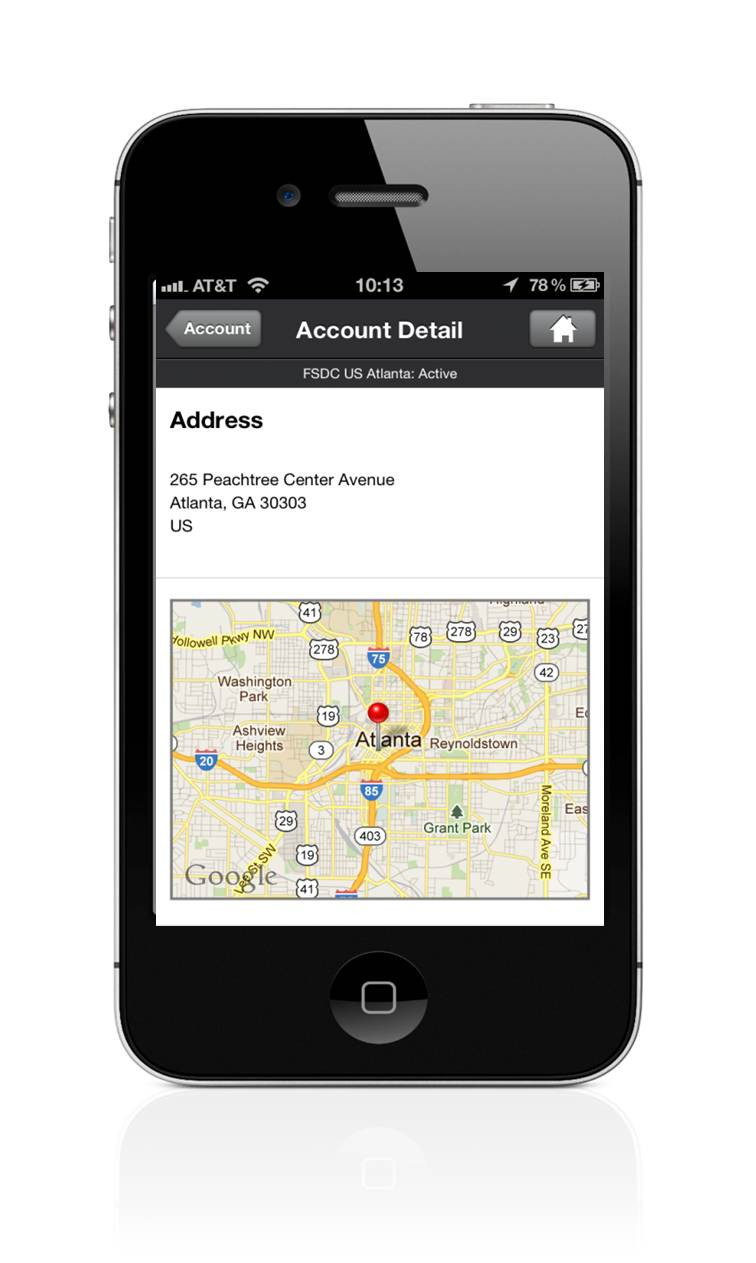 Infor SyteLine ERP Road Warrior iPhone Map View.jpg
