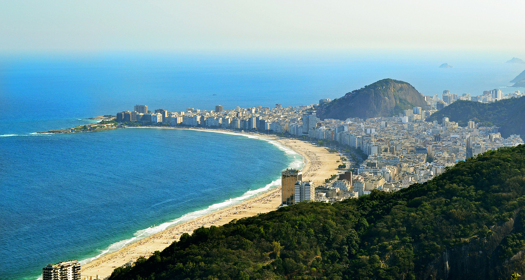 Praia de Copacabana em dia de sol