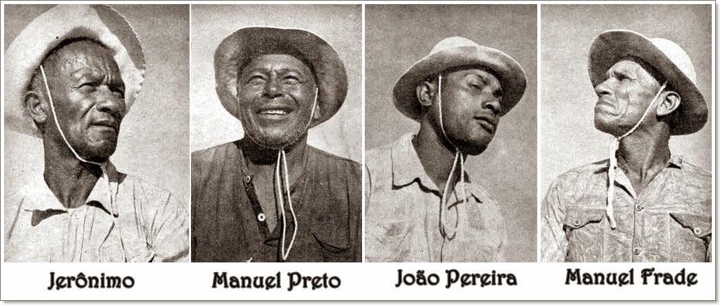 Os quatro jangadeiros: Jerônimo, Manuel Preto, João Pereira e Manuel Frade