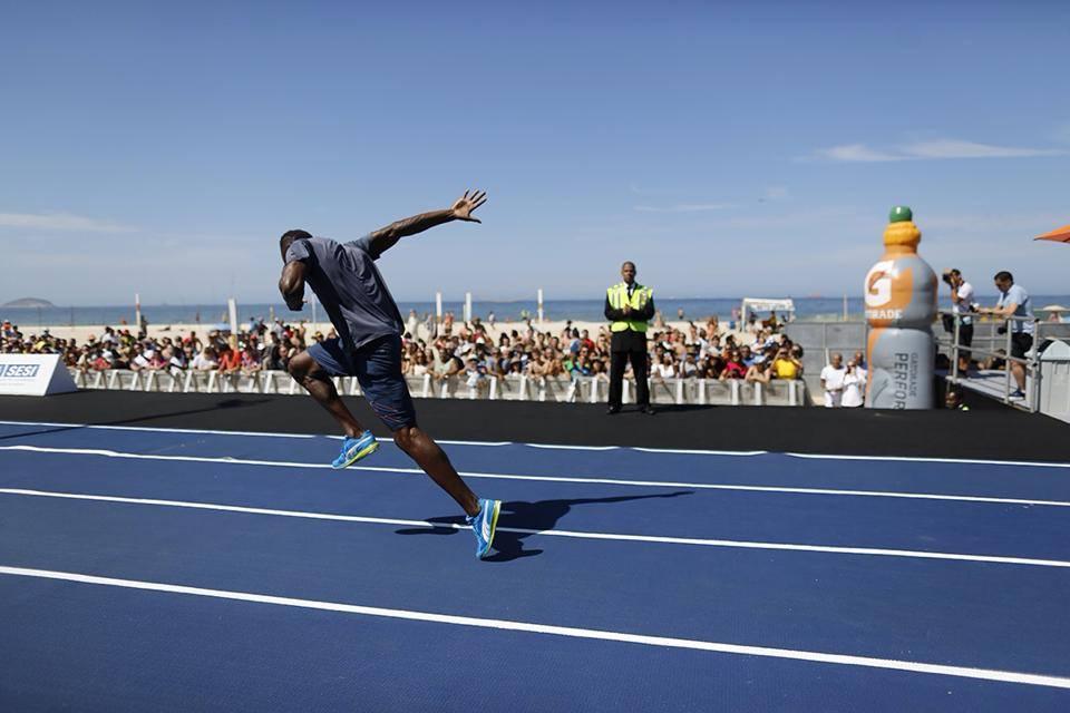Usain Bolt em Copacabana, Rio de Janeiro