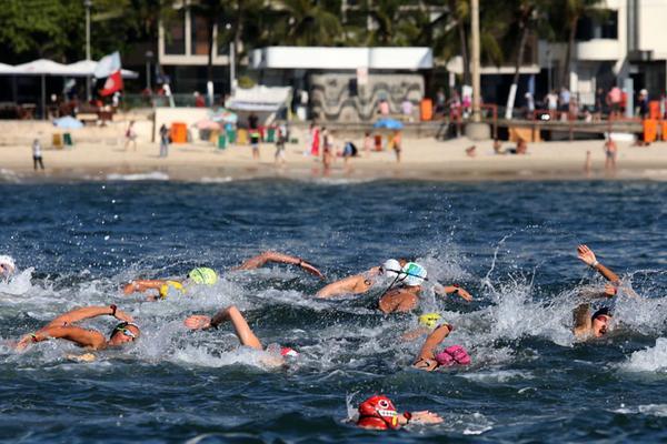 Evento-teste #Rio2016 da Maratona Aquática em Copacabana 23/08/2015