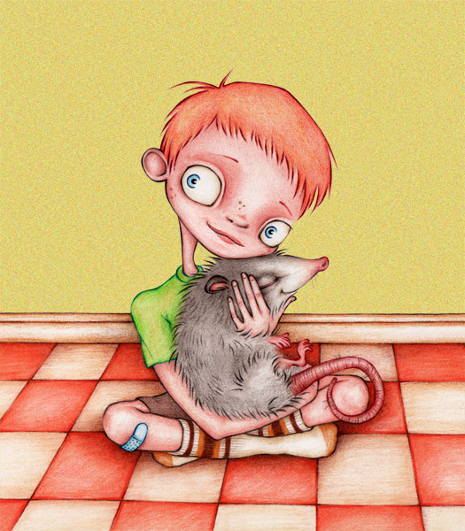 Simon & the opossum.