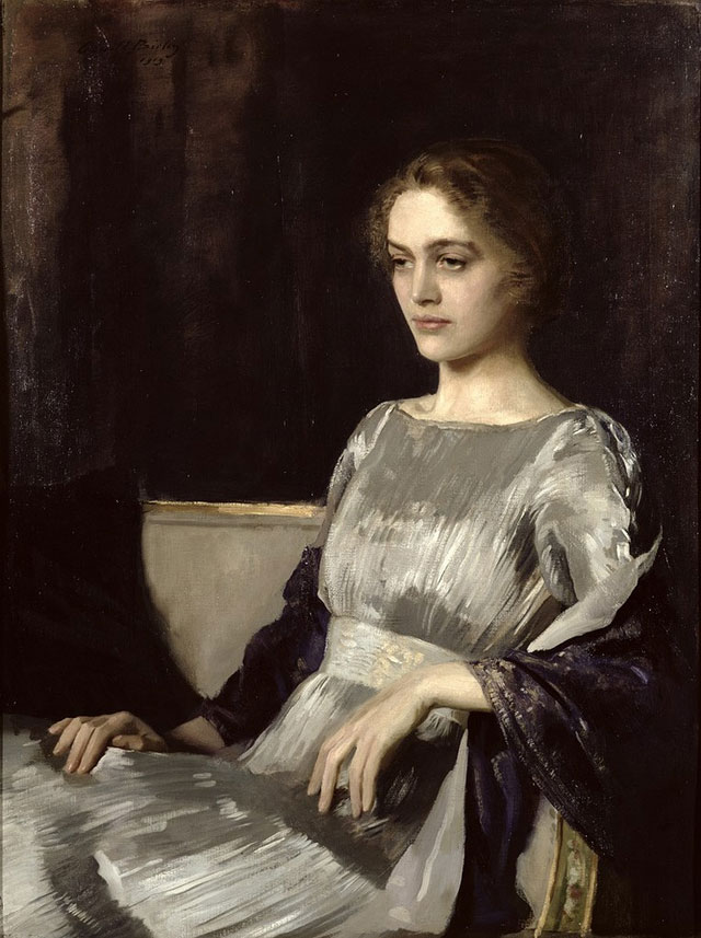Miss Muriel Gore in a Fortuny dress , by Sir Oswald Hornby Joseph Birley, 1919, source unknown