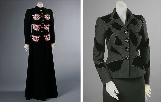 evening coat , winter 1938-39, and  dinner jacket , spring 1939, both by Elsa Schiaparelli. source Philadelphia Museum of Art