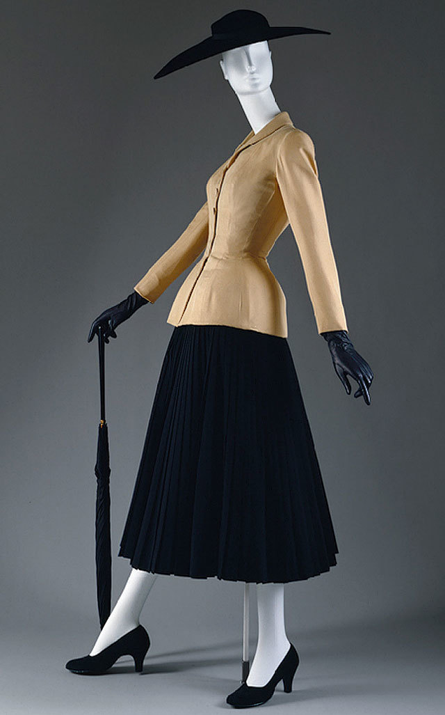 """""""Bar"""" suit jacket, spring/summer 1947, and skirt, executed in 1969 from 1947 design, both by Christian Dior. source Metropolitan Museum of Art"""