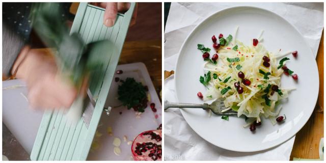 leek and pomegranate salad - Sandra Harris