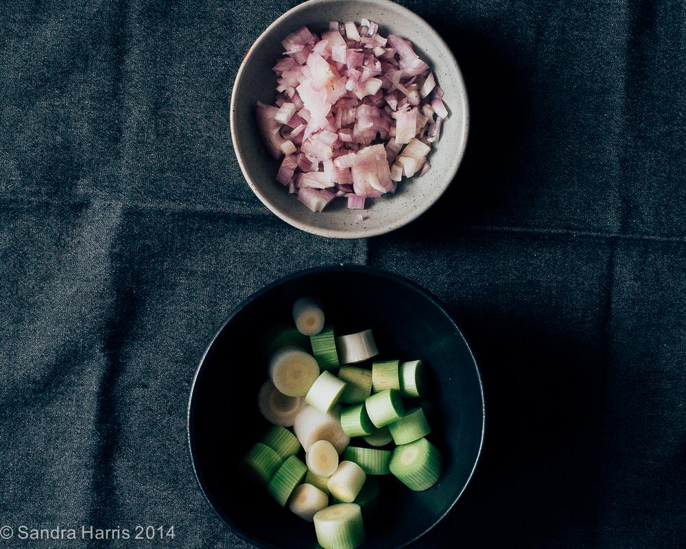 chopped leeks and shallots - Sandra Harris
