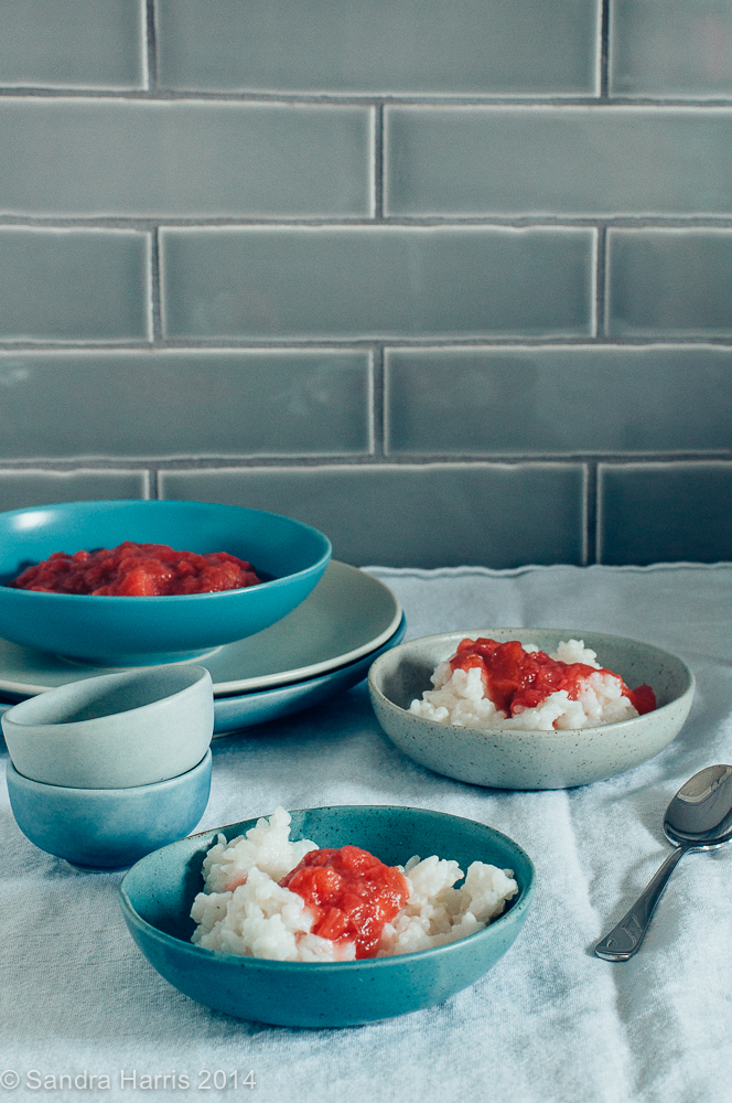 Coconut Rice Pudding with Rhubarb Ginger Compote - Sandra Harris