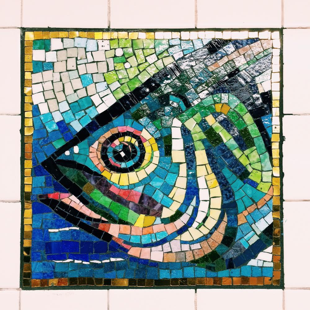 Delancey Subway NYC mosaic fish