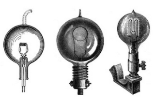 """Three light bulb prototypes independently invented by Edison, Swan, and Maxim. Image from """"   What Technology Wants   """" by Kevin Kelly."""