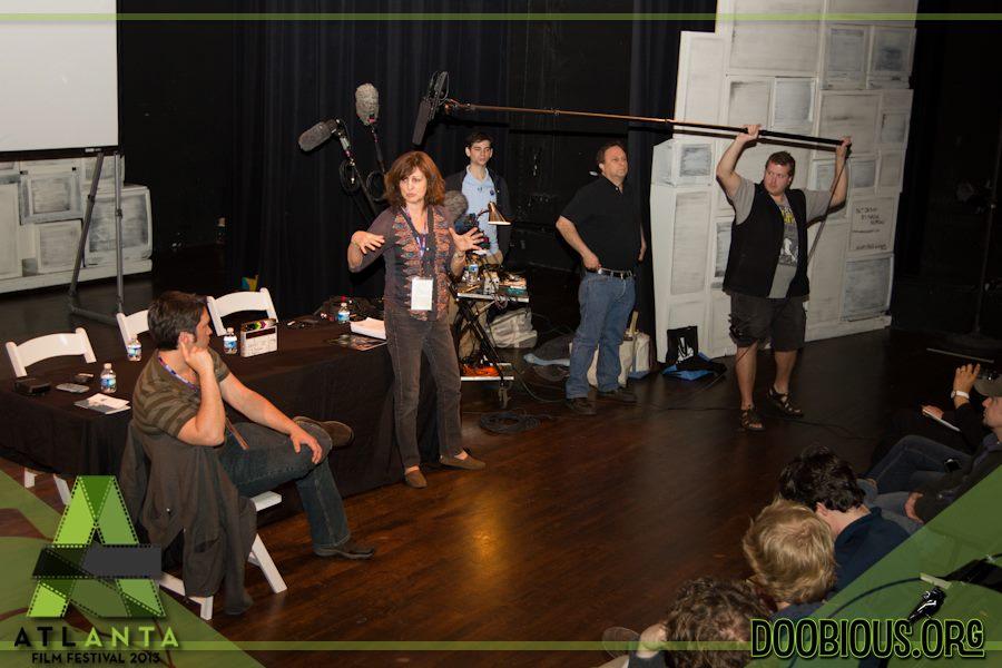 Jeremiah Kulani Prescott, Linda Spears, Scott Beatty, Aron Siegel, and Allen Lee Williams III demonstrate proper sound recording technique at the 2013 Atlanta Film Festival.