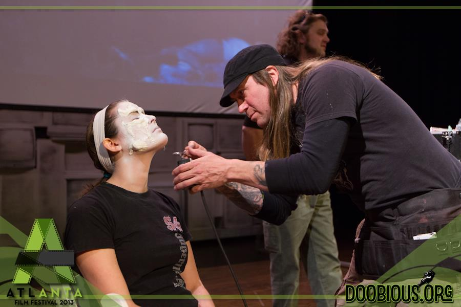 Blake Meyers and Shane Morton demonstrate the fine art of Makeup FX with the help of Allison Meier at the 2013 Atlanta Film Festival.