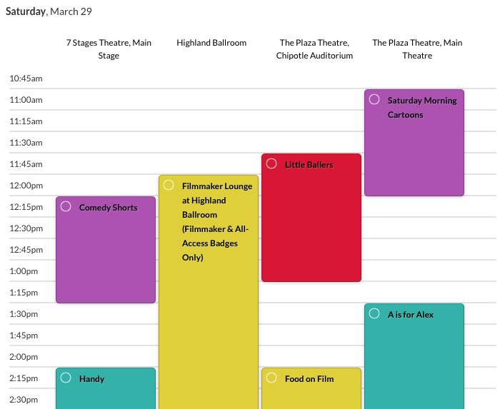 The schedule in Grid view.