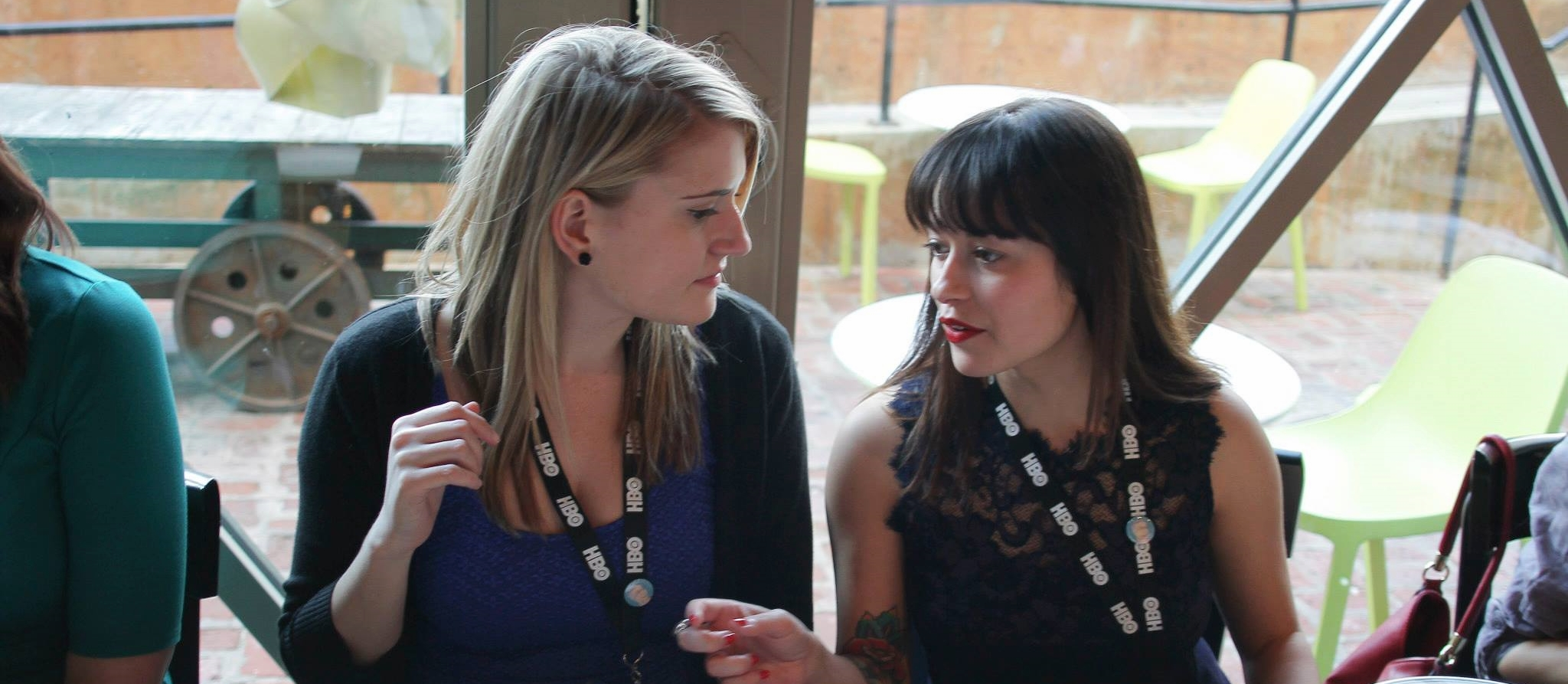 Alyssa Armand (left) and Christina Humphrey (right) have a gravely serious discussion... Probably about Film. Photo: Portraits by Isadora