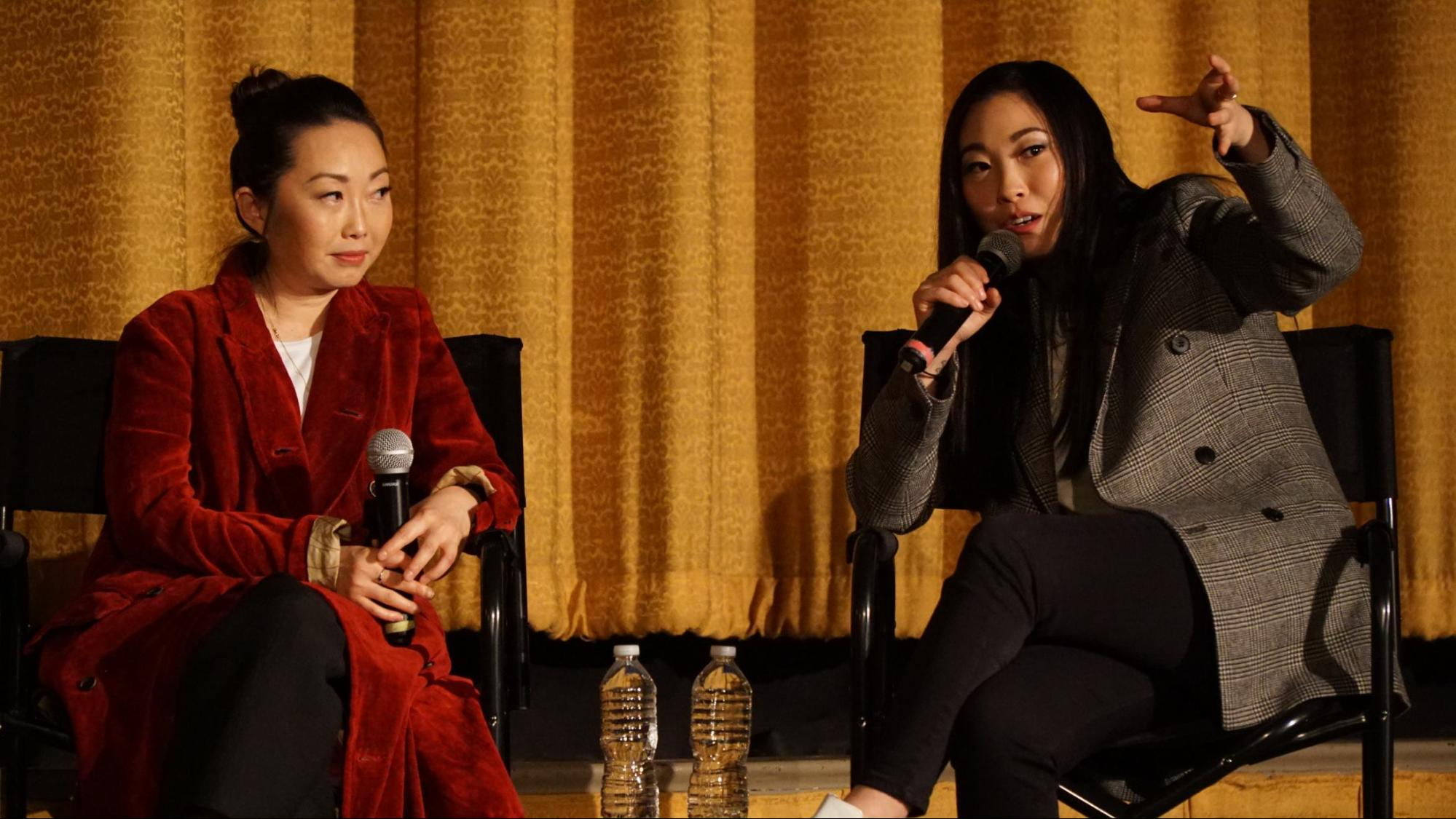 Lulu Wang and Awkwafina jump onstage afterwards for a Q&A.