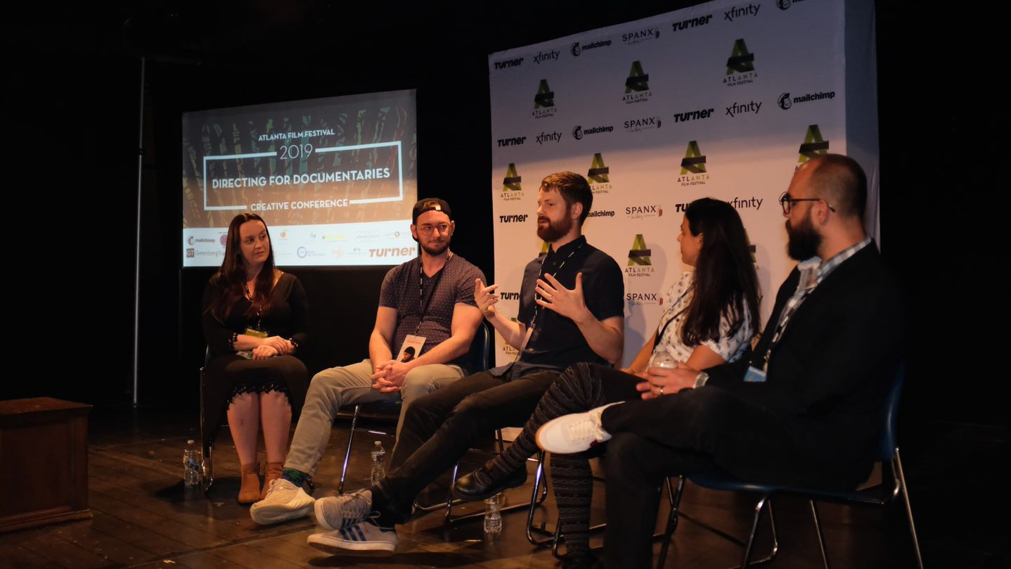 Jen West (left most) talks directing with documentarians (left to right) Tim O'Donnell, Kristian Melom, Giovanna Giovanini, and James Martin.