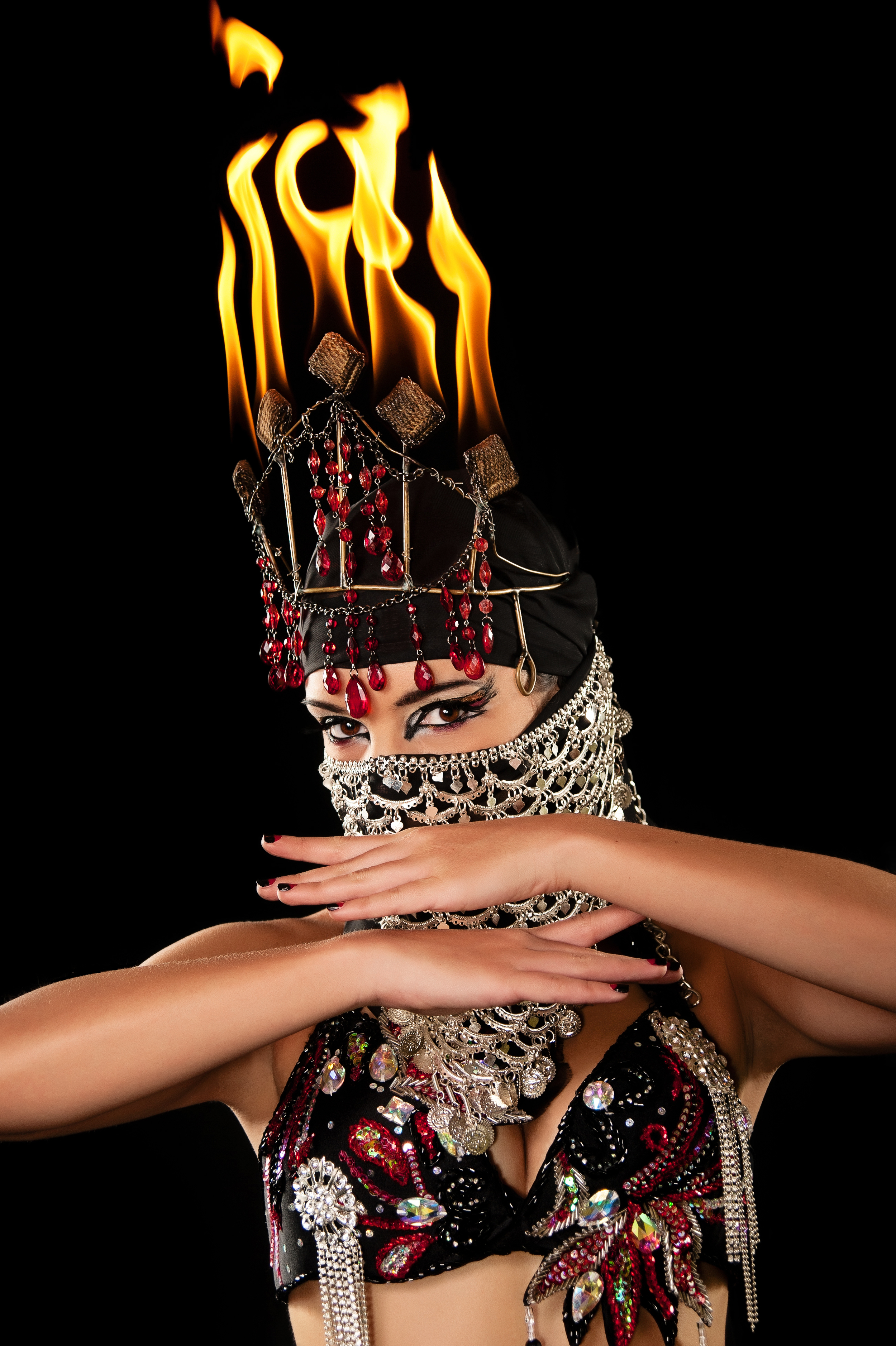 fire crown belly dancer fire dance