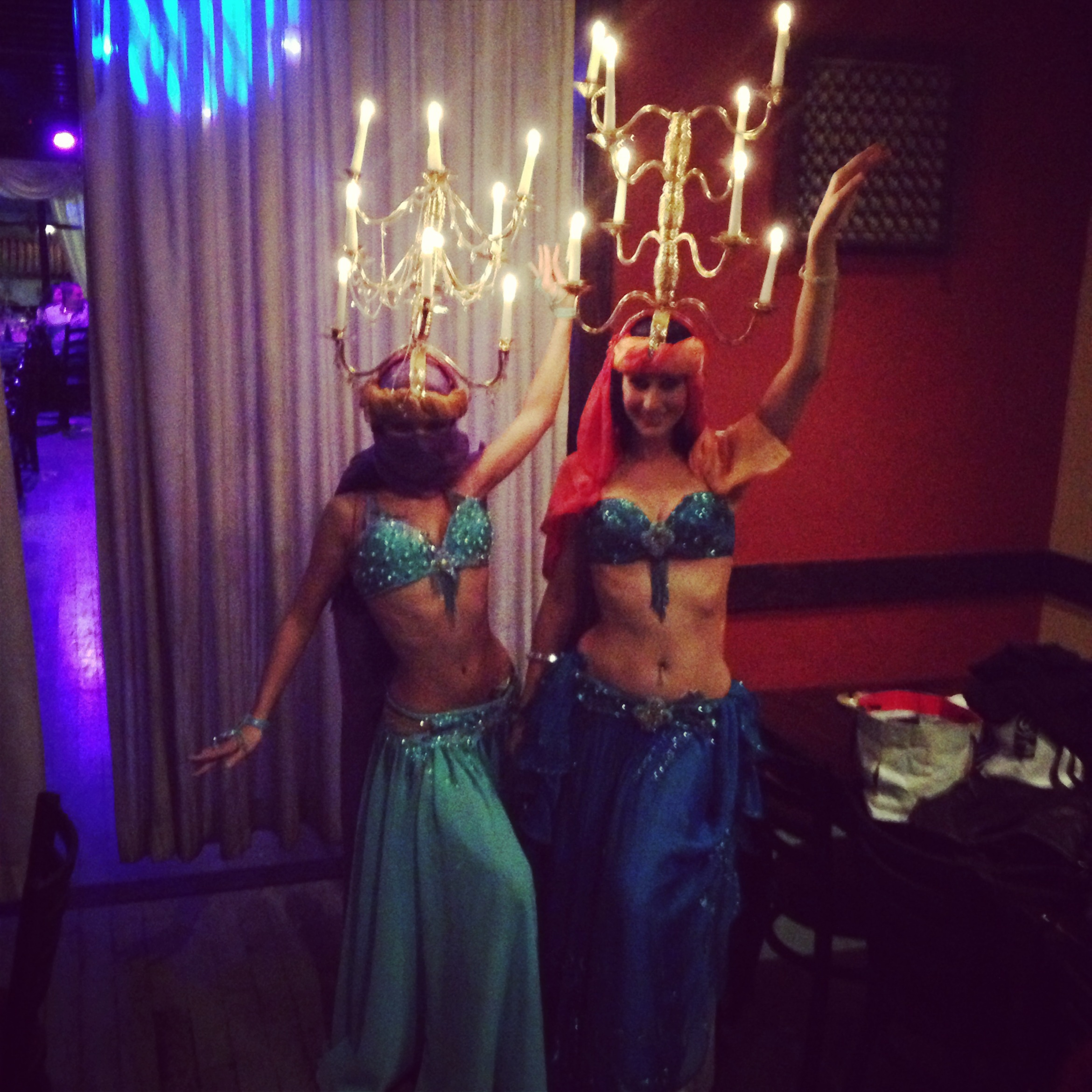 Jillian and Lauren backstage at a  belly dance show at Taverna Opa City Place, West Palm Beach