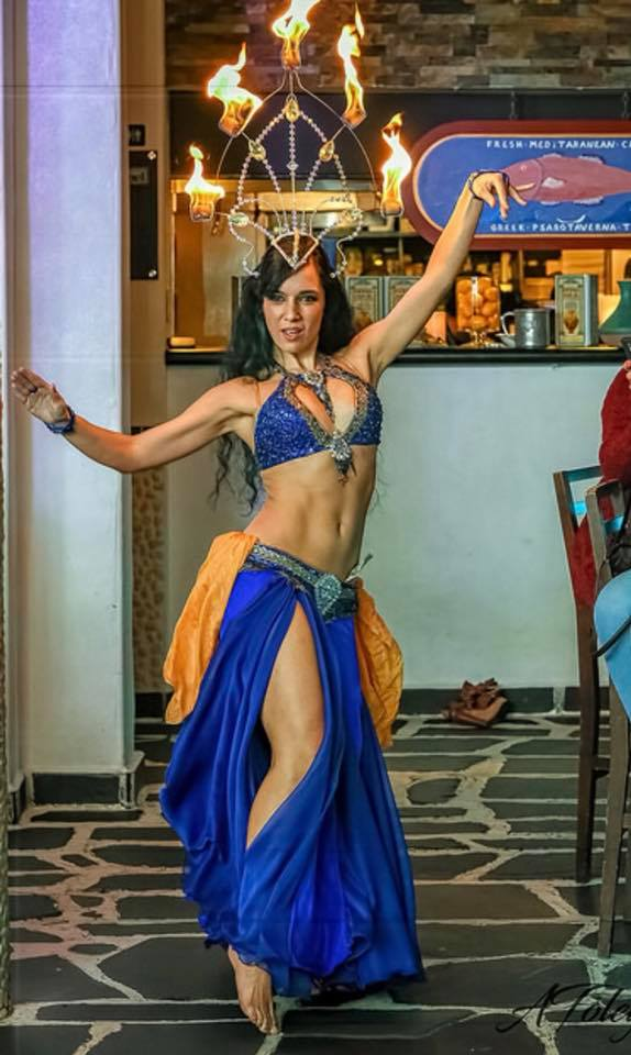Blue Keyhole Bella Belly Dance Costume Boca Belly Dancer
