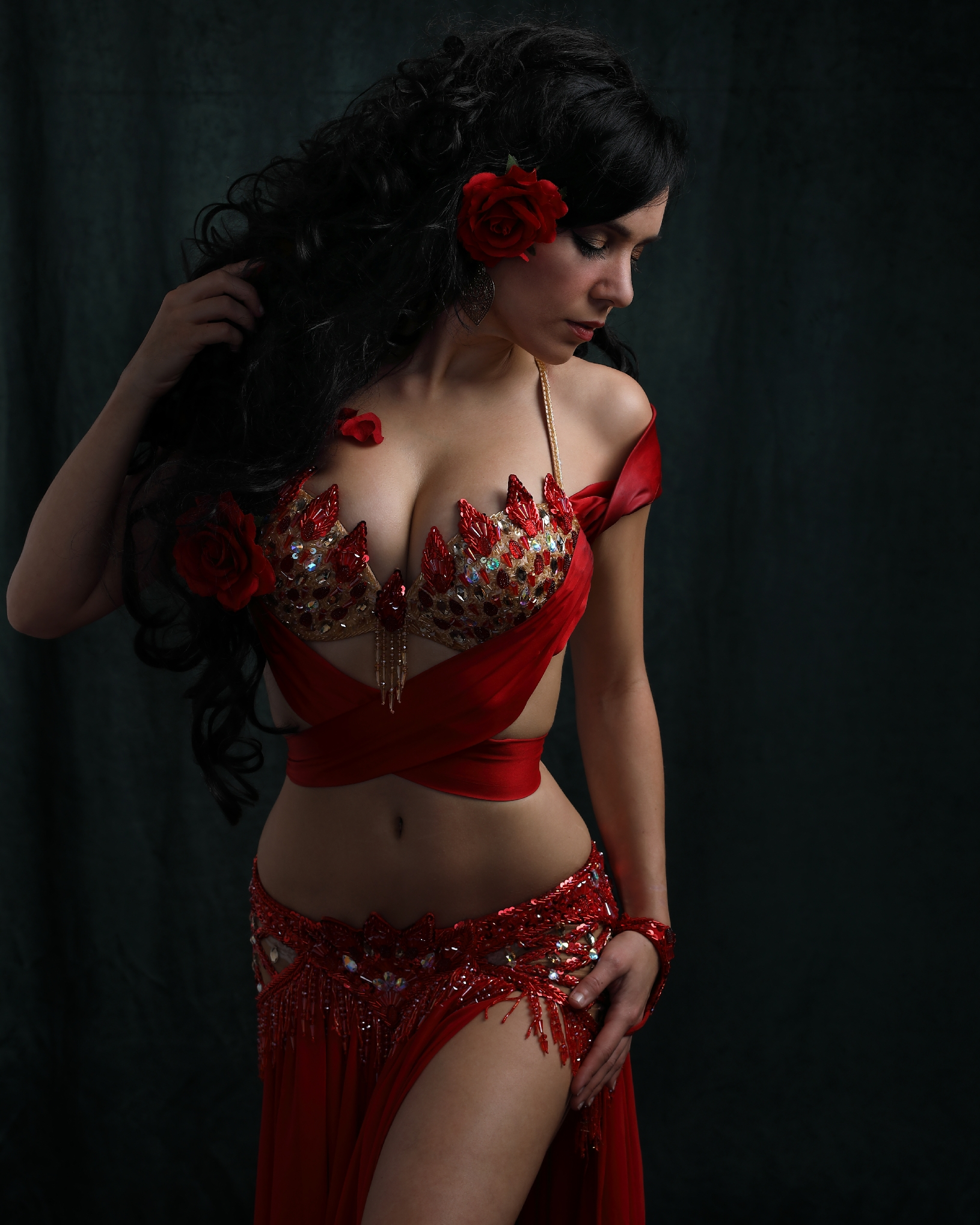 Red Satin Romance Bella Bellydance Costume Miami Belly Dancer
