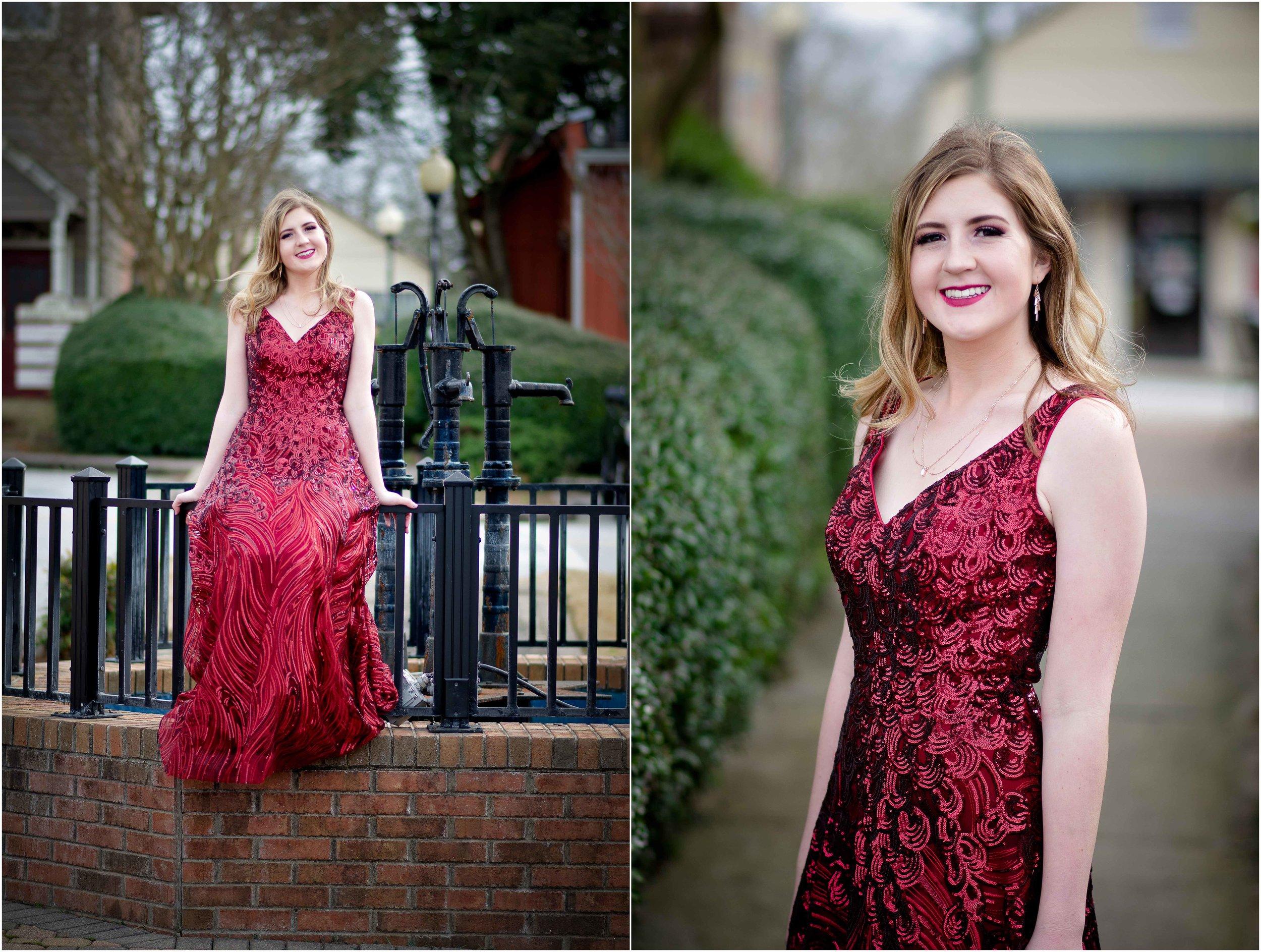 Hannah in her stunning red dress. McEachern High School Prom 2019