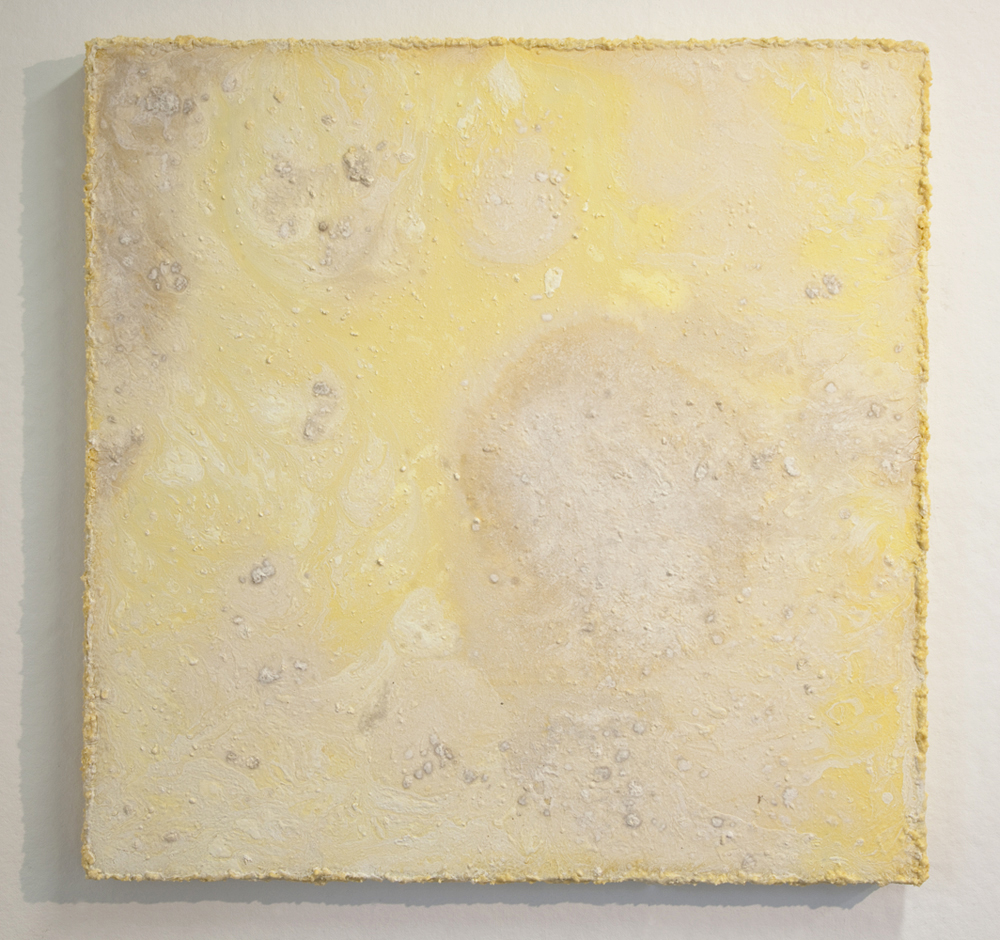 dry milk  2012 mixed media on wood panel 48 X 48 X 2.75 inches