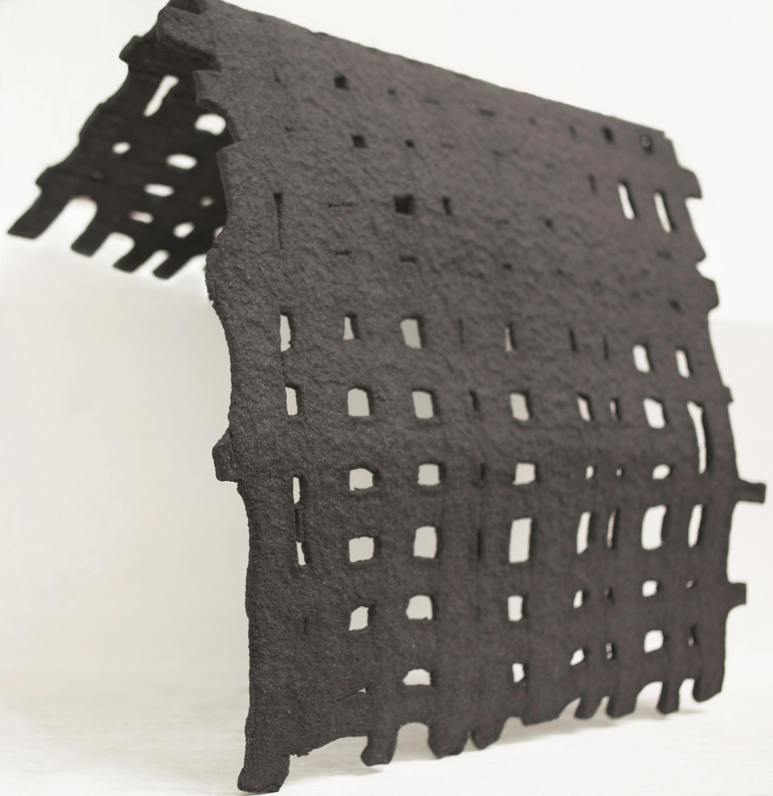 salt grid1  2014 salt, flour, graphite 18 x 16.5 x 10 inches
