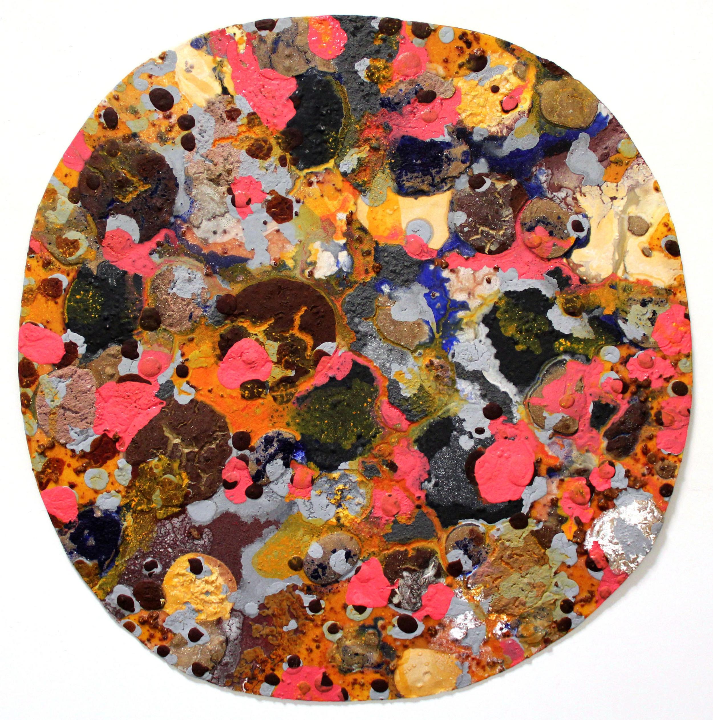 molecularly  acrylic, mixed media on masonite  48 inches diameter