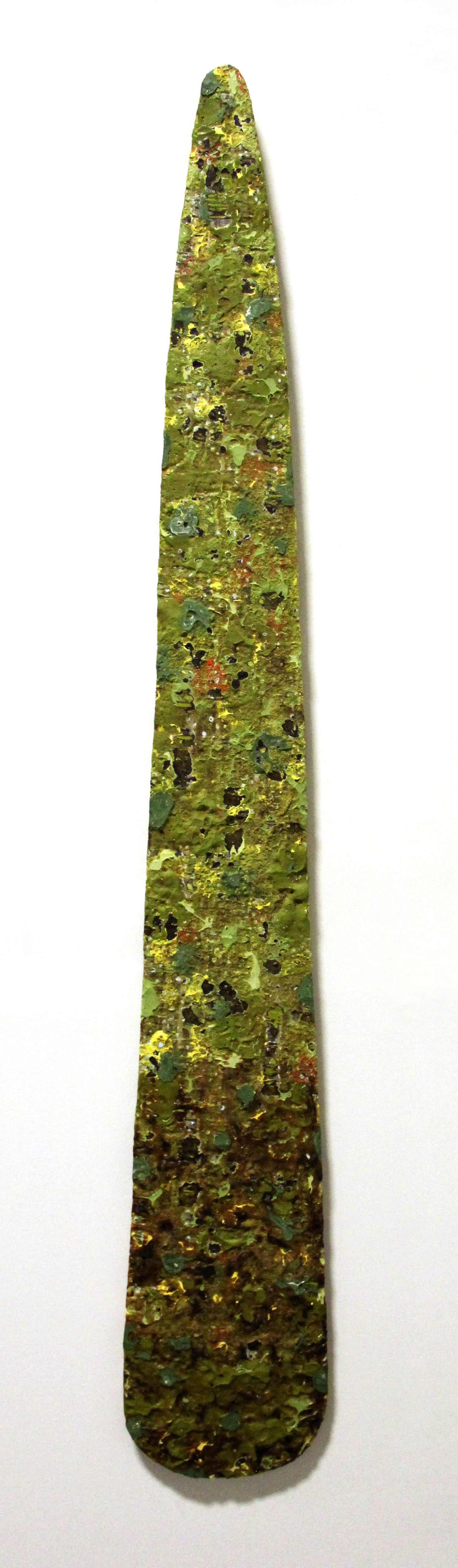 gopher agave  acrylic, mixed media on wood  72 x 11 inches
