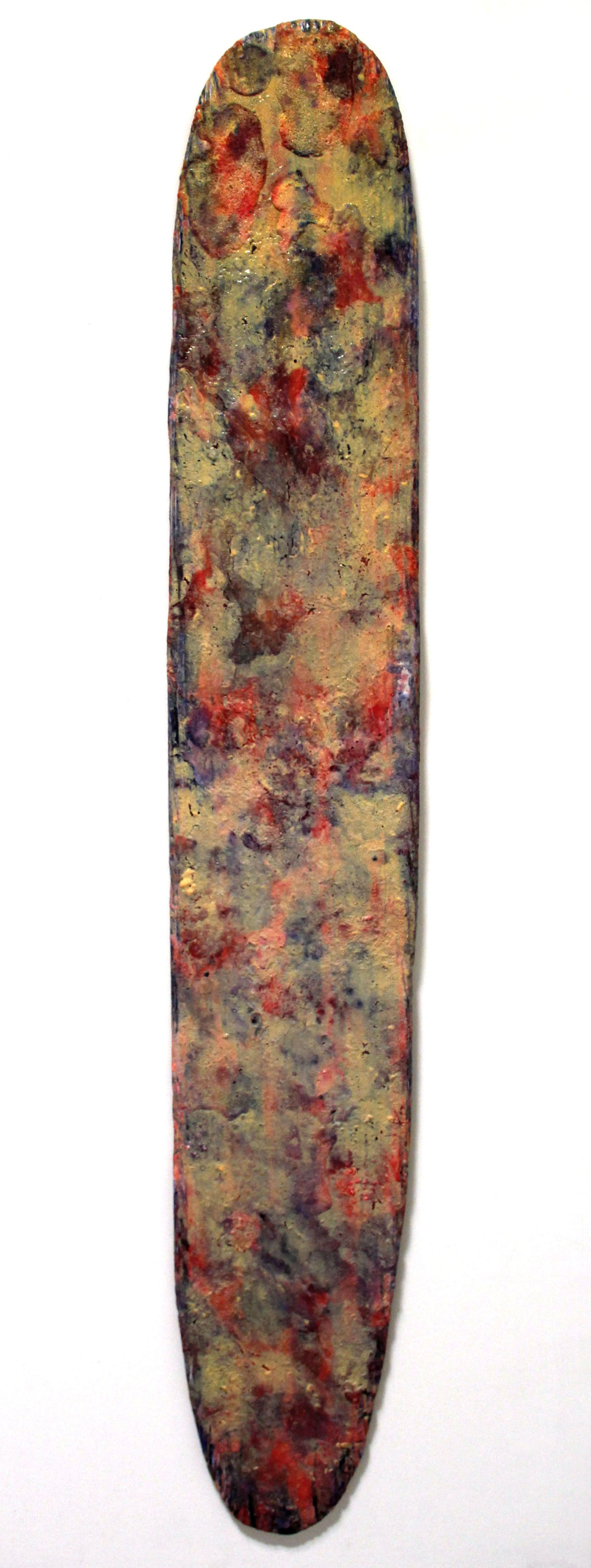 the tip of one's  acrylic, mixed media on wood  72 x 11 inches