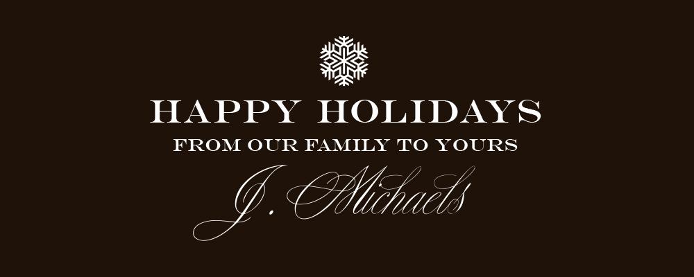 "J. Michaels ""Happy Holidays"" logo"