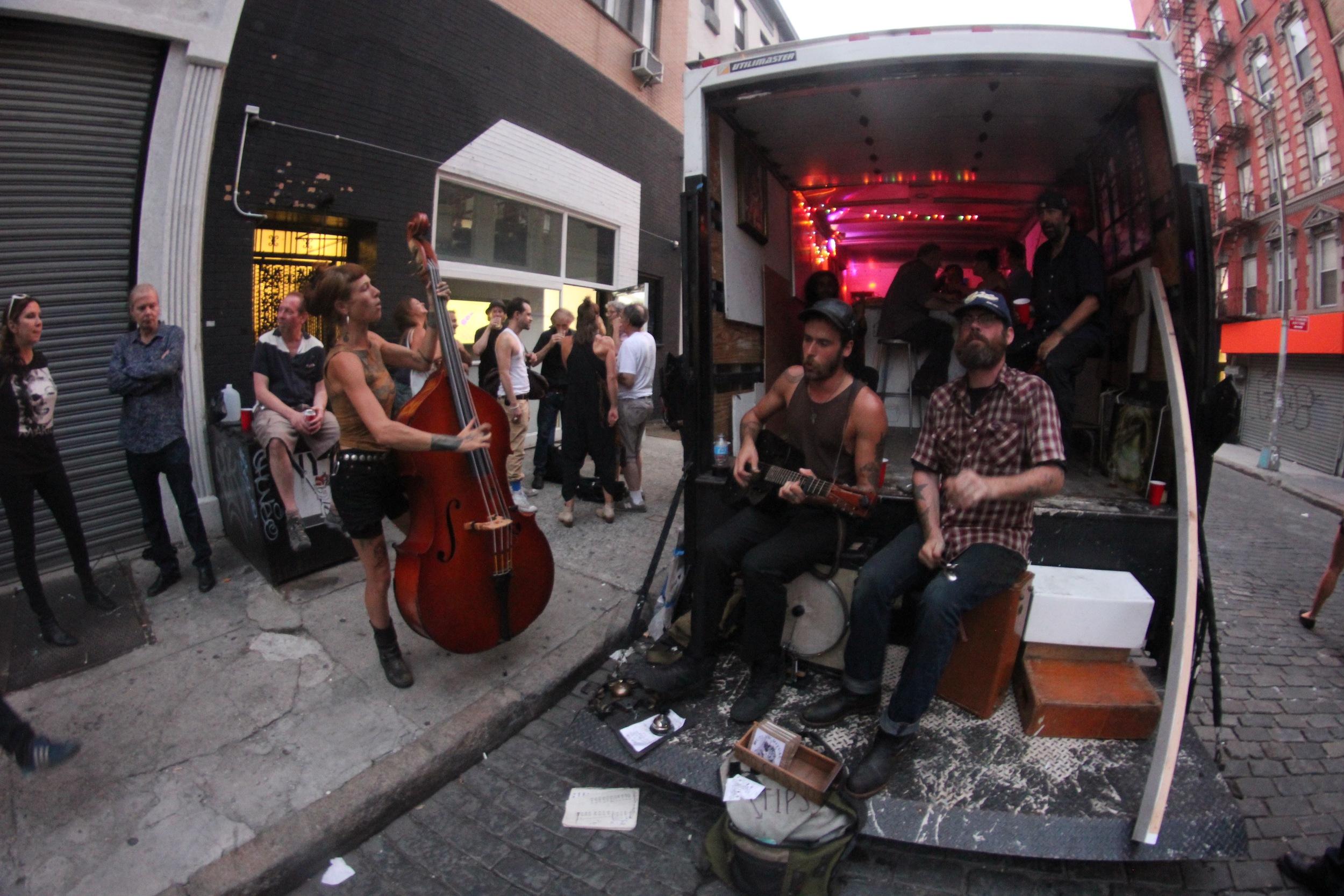Dan Glass' Mars Bar gallery show and Mars box truck w//outlawritual