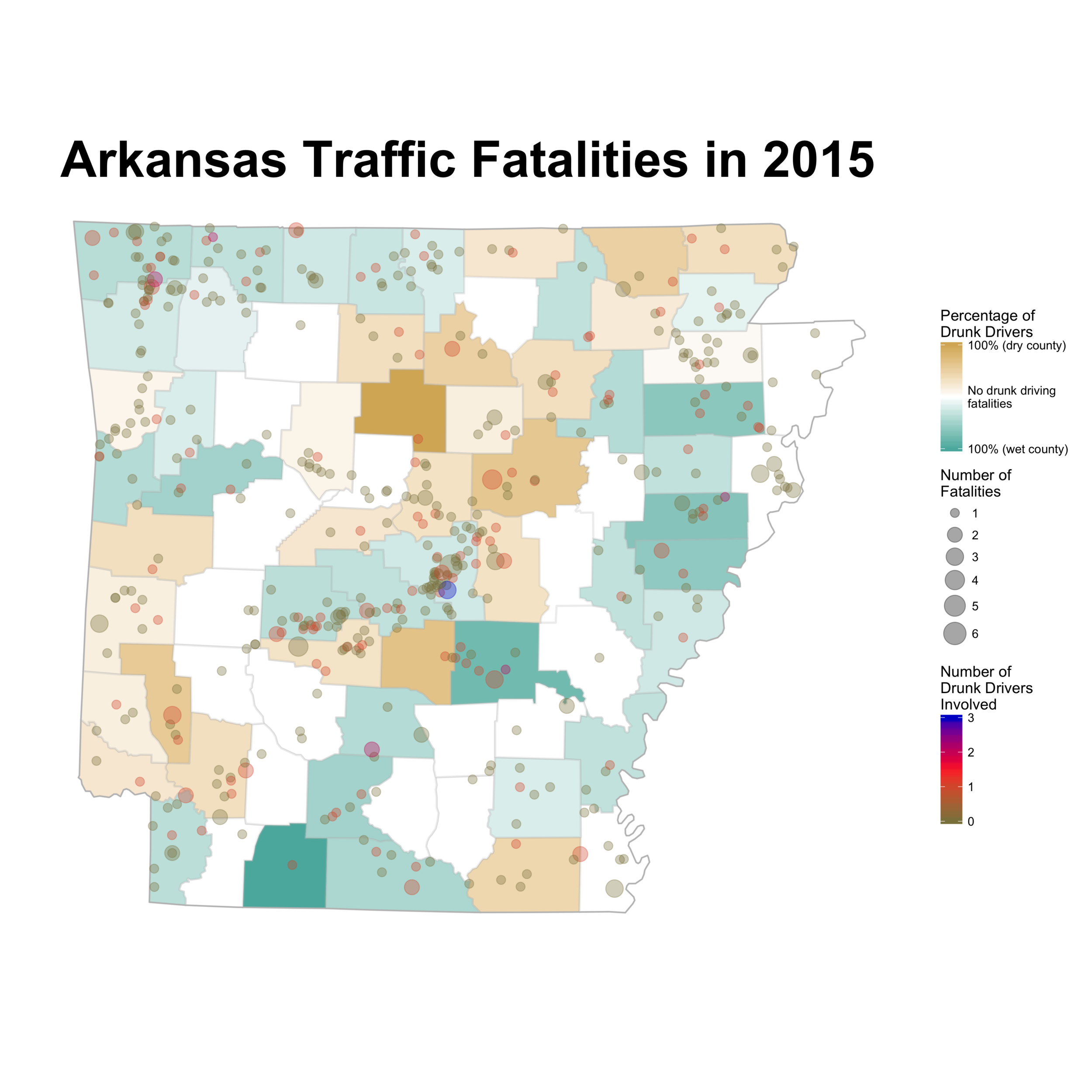 2015 Arkansas traffic fatalities. Graphic ©2016 Nathan Chaney.