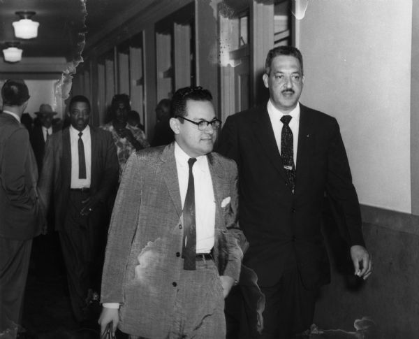 Wiley Branton, Sr.  (left) and Thurgood Marshall (right) at a court hearing about the desegregation of Little Rock's public schools. Mr. Marshall would ultimately become the first African American and the 96th Justice on the United States Supreme Court on June 13, 1967 after being nominated by President Lyndon Johnson to replace Tom C. Clark.  The Encyclopedia of Arkansas has  an excellent entry  about Mr. Branton. His son is currently  the Circuit Judge of Pulaski County's Eighth Division .